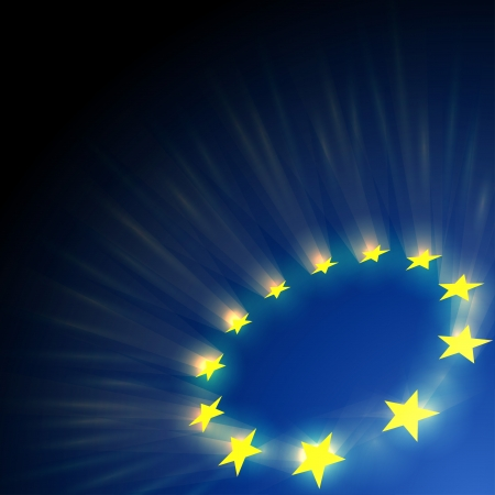 eu flag: European Union stars glare on dark blue background.