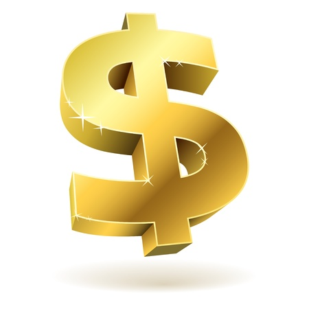 dollar icon: 3D golden dollar sign isolated on white background.
