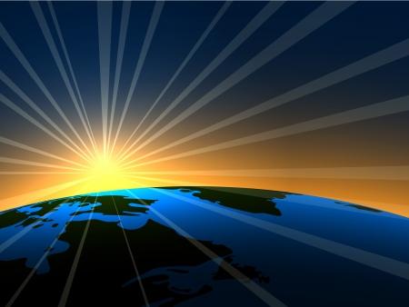 raggi di luce: Spazio alba luminosa su sfondo Terra.