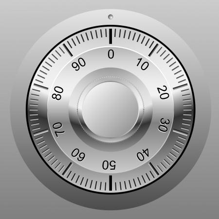 wijzerplaat: Realistische illustratie van een veilige combinatie slot wiel. Stock Illustratie