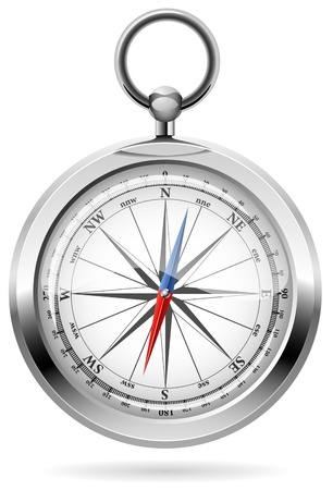 Realistic illustration of shiny metal compass. Vector