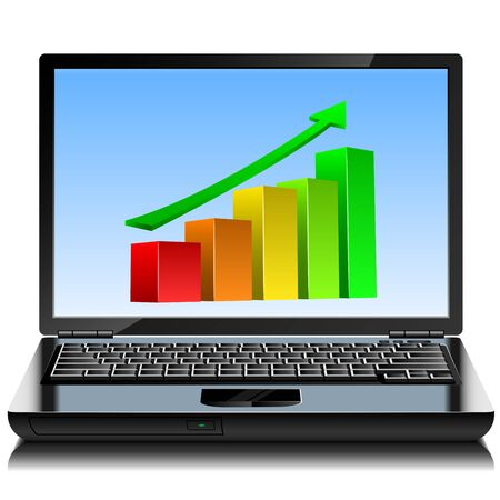 Modern laptop with up-growing graph on the screen. Stock Vector - 15901174