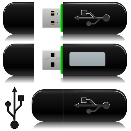 Portable usb flash  drive illustration with standard USB symbol. Vector