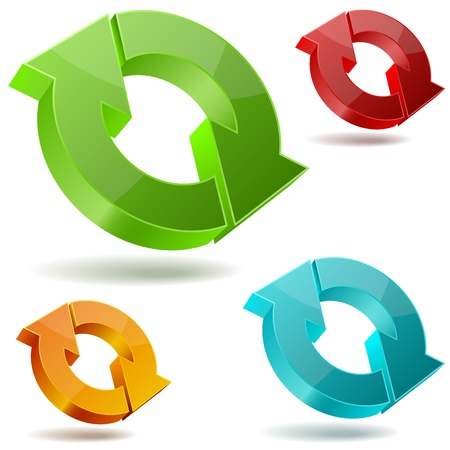cíclico: iconos de brillantes flechas 3D circulantes aislados en fondo blanco. Vectores