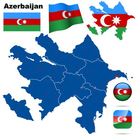 azerbaijanian: Azerbaijan set. Detailed country shape with region borders, flags and icons isolated on white background.