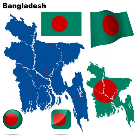 national colors: Bangladesh set. Detailed country shape with region borders, flags and icons isolated on white background.