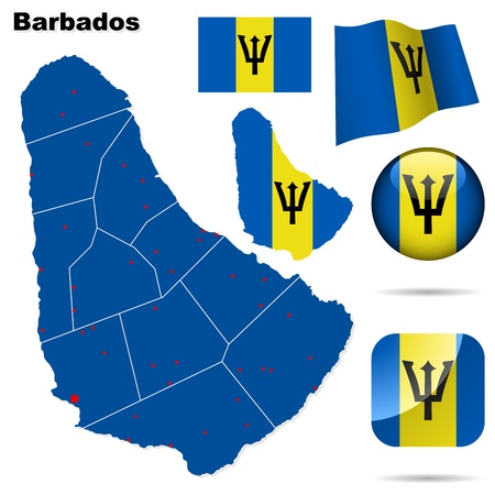 barbados: Barbados  set. Detailed country shape with region borders, flags and icons isolated on white background.