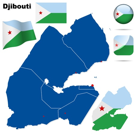 Djibouti set. Detailed country shape with region borders, flags and icons isolated on white background. Illustration