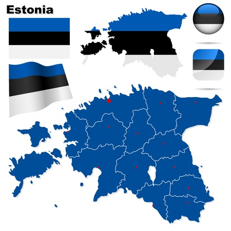Estonia set. Detailed country shape with region borders, flags and icons isolated on white background. Illustration