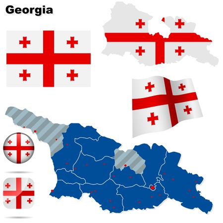 georgia flag: Georgia set. Detailed country shape with region borders, flags and icons isolated on white background.