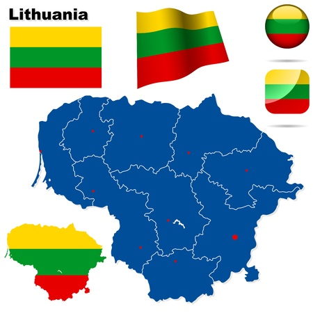 baltic: Lithuania set  Detailed country shape with region borders, flags and icons isolated on white background  Illustration