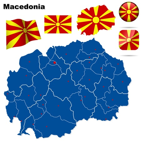 Macedonia set  Detailed country shape with region borders, flags and icons isolated on white background  Vector