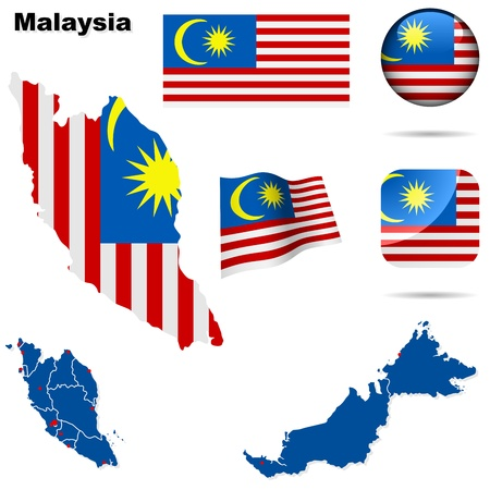 Malaysia set  Detailed country shape with region borders, flags and icons isolated on white background