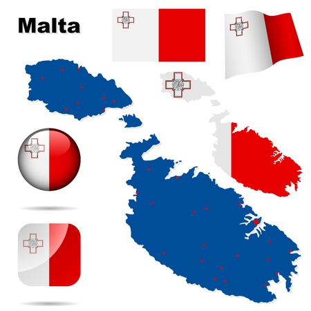 Malta set  Detailed country shape with region borders, flags and icons isolated on white background  Vector