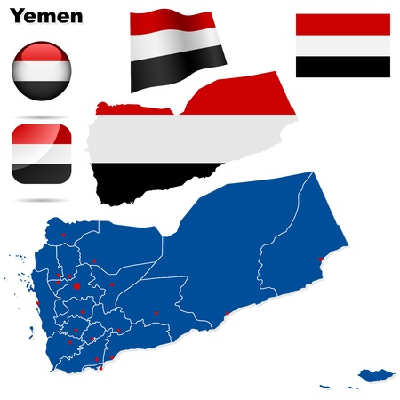 divisions: Yemen set  Detailed country shape with region borders, flags and icons isolated on white background
