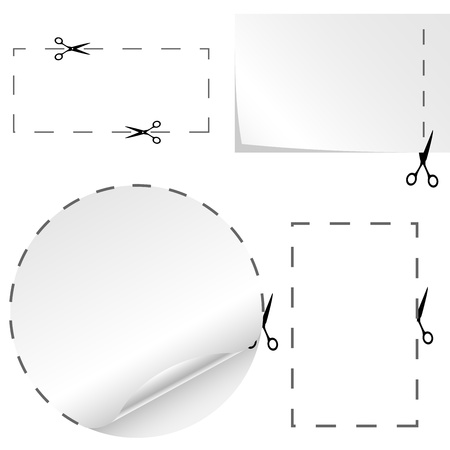 tear off: set of cutoff paper coupons with scissors sign
