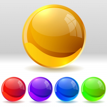 collection of realistic glossy balls   Vector