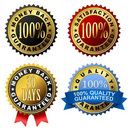 conjunto de 100 etiquetas de garant�a de oro