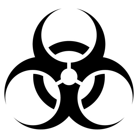 biohazard symbol: Black and white biohazard sign