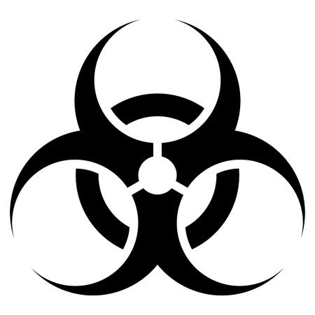 Señal de peligro biológico en blanco y negro