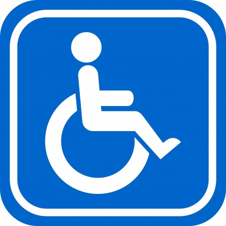 disabled parking sign: White and blue handicapped person sign
