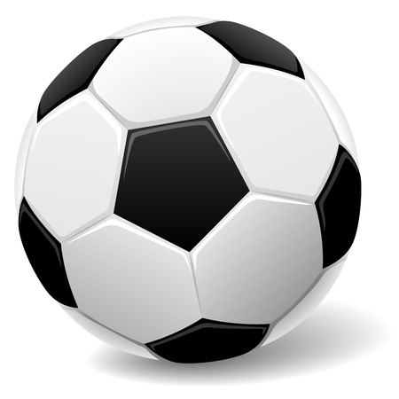 soccerball: Black and white classic soccer ball illustration