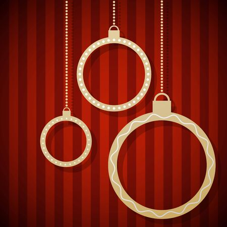 Abstract paper Christmas balls hanging against red striped background  Vector
