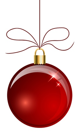 adorning: Red Christmas ball hanging on the string isolated on white background