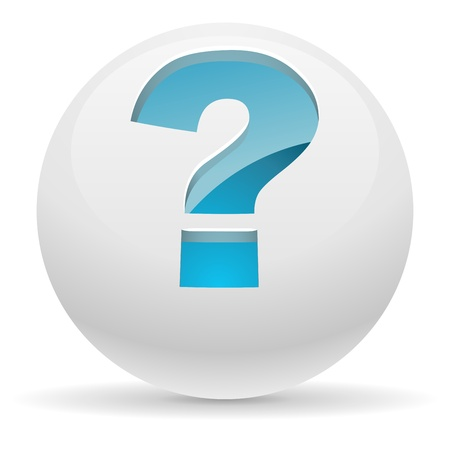 sphere icon: 3D white button with blue question mark illustration  Help concept