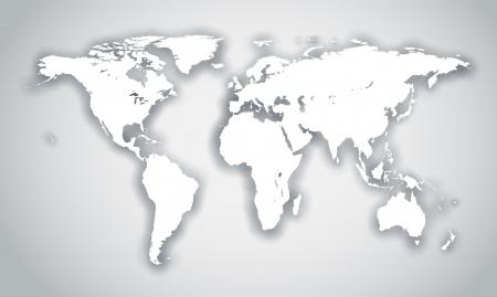 north america map: Forma mondo bianco con ombra isolato su sfondo grigio.