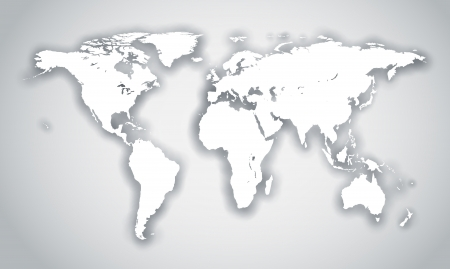 wall maps: White world shape with shadow isolated on gray background.