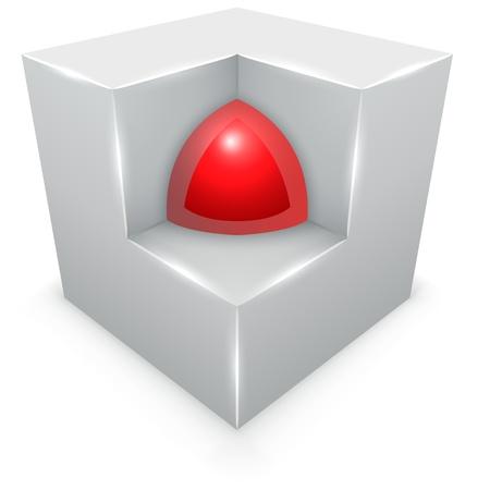 Esfera concepto 3D en el interior del cubo aislado sobre fondo blanco.