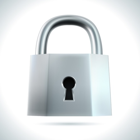 Metal padlock isolated on white background  illustration. Vector