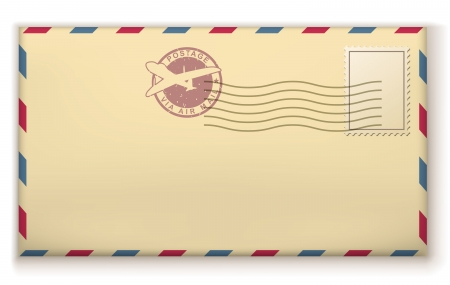 pasted: Old postage envelope with stamps isolated on white background.