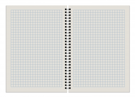 double page: Blank checkered notepad double page spread isolate on white background.