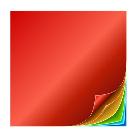 Colorful multiple curled page corners illustration.