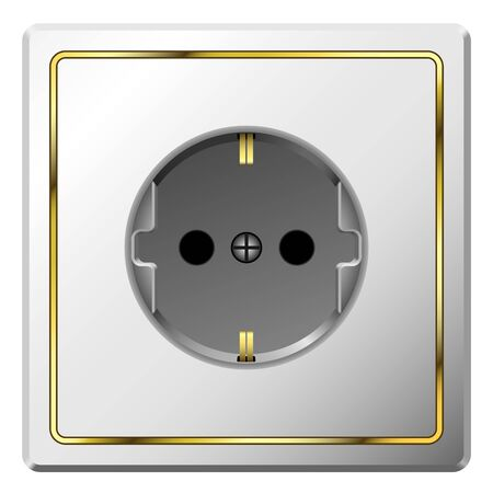 earthing: White electric wall outlet with gilded frame isolated on white background.