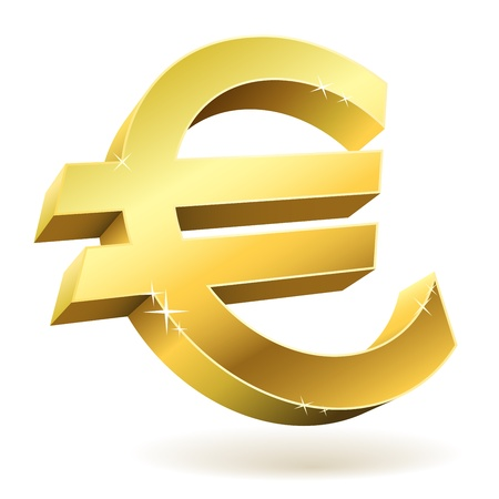 european union currency: 3D golden Euro sign isolated on white illustration. Illustration