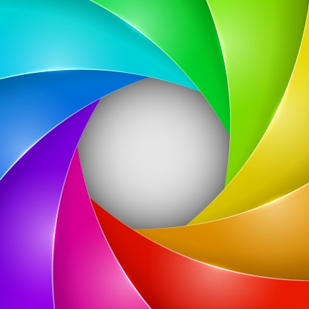 Abstract colorful photo shutter aperture vector background with copy space  Vector