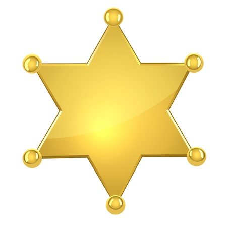 Estrella de sheriff en blanco de oro aisladas sobre fondo blanco