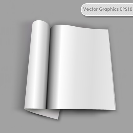 Blank opened magazine with rolled page template. Vector