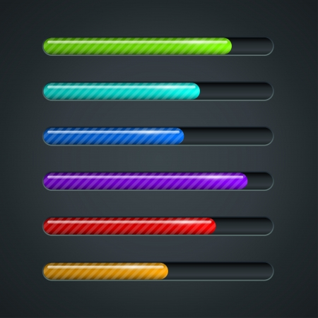 information systems: Color striped progress bar vector template.