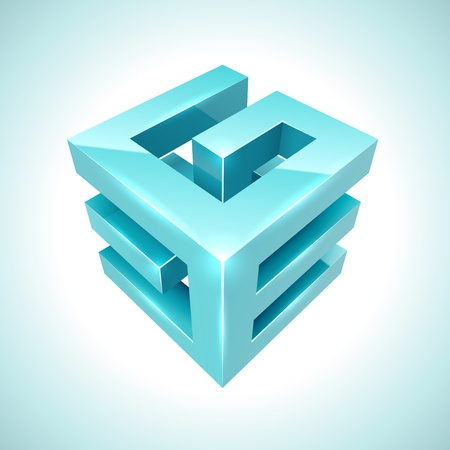 Abstract 3D cube cyan icon isolated on white background. Stock Vector - 17229520