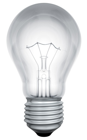 Standard light bulb template isolated on white background.