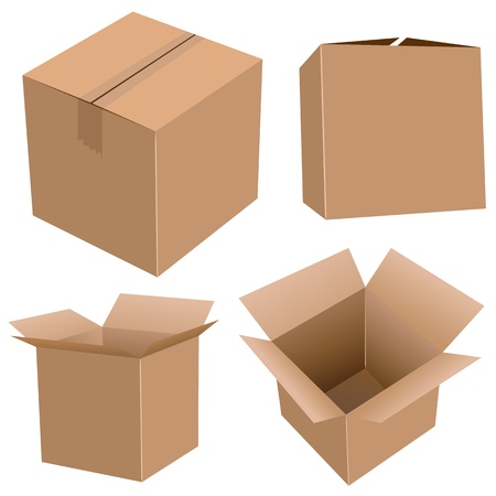 Cardboard boxes set  isolated on white  Ilustracja