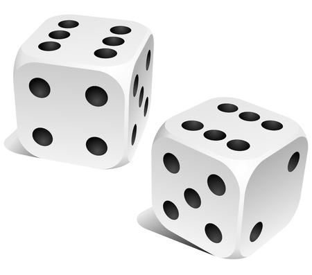 Dados blanco y negro con seis doble rodillo Ilustración de vector