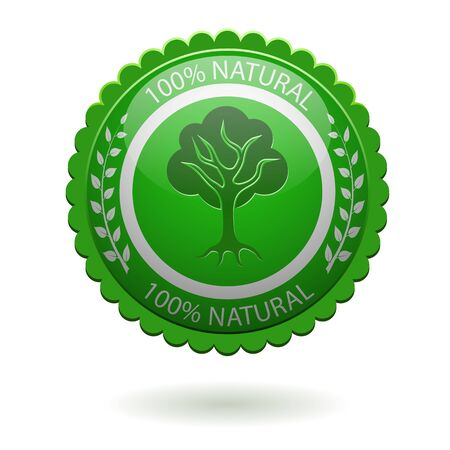 100  natural green label isolated on white Stock Vector - 17247547