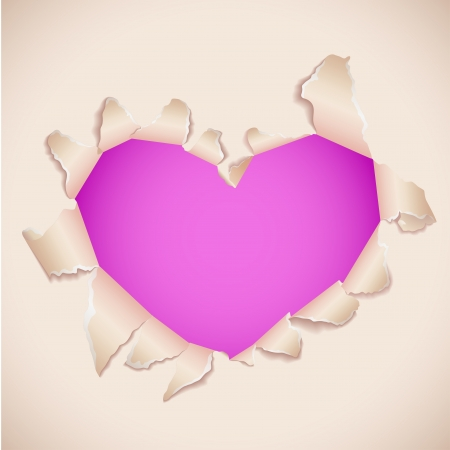 torn heart: Heart shaped torn paper with pink copy space
