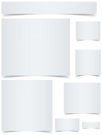 curled edges: Banner di dimensioni standard web in bianco con bordi arricciati effetto isolato su sfondo bianco Vettoriali