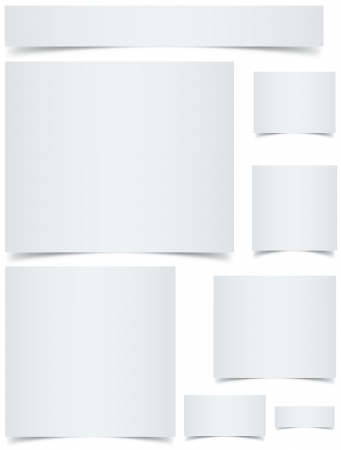 Standard sized blank web banners with curled edges effect isolated on white background